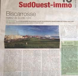 Revue de presse : Journal SUD OUEST / Immobilier 40 Titre : BISCARROSSE Moteur de la côte Nord des L